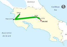 Honeymoon Heaven Costa Rica map- from Costa Rica Experts romantic honeymoon vacation packages