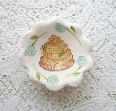 Magnetic Ceramic Pin Or Ring Dish Painted Yellow Bee Skep With Bumble Bees And Blue Flowers