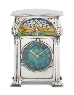* DAVID VEASEY FOR LIBERTY & CO., LONDON  'CYMRIC' SILVER AND ENAMEL MANTEL CLOCK, DATED 1903  the single train movement with circular ename...