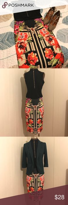 """""""Floral Bodycon Skirt"""" """"N3W0T"""" BEAUTIFUL!!! skirt with front to back floral design in bold colors, can be paired up perfectly with any casual attire/day at the office珞邏!! It's made up of 95% polyester & 5% spandex. Size M, Waist (28-29"""") Hip (38-39"""") material stretches to accommodate to your waist珞! Waist to Hem (24"""" ) (SMOKE FREE) Chatoyant Skirts Pencil"""
