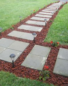 front walkway built out of inexpensive cement pavers red lava rocks and solar, concrete masonry, curb appeal, landscape, Front Walkway Reveal