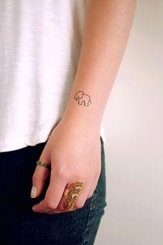 Small elephant temporary tattoo (set of two) – Temporary Tattoos by Tattoorary Hand Tattoos For Women, Small Girl Tattoos, Small Wrist Tattoos, Foot Tattoos, Mini Tattoos, Tattoos For Guys, Small Elephant Tattoos, Elephant Outline, Tattoo Elephant