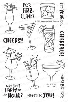 Cocktail Mixer clear stamps by Newton's Nook Designs Cocktail Theme, Cocktail Mixers, Bullet Journal Ideas Pages, Bullet Journal Inspiration, Bullet Journals, Happy Pop, Drinking Quotes, Stamp Pad, Digital Stamps