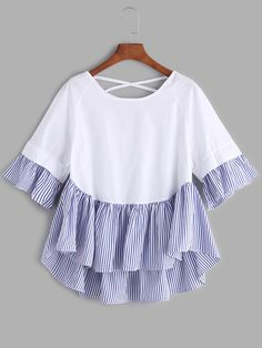 White Lattice Back Ruffle Hem High Low Blouse Girls Fashion Clothes, Teen Fashion Outfits, Girl Fashion, Girl Outfits, Fashion Dresses, Girls Boutique Dresses, Stylish Dresses For Girls, Cute Casual Outfits, Mode Style