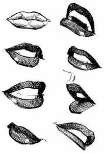 the lips are drawn with exaggerated