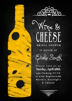 Wine & Cheese Bridal Shower Invitation - Digital File Only on Etsy, $15.00