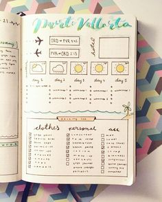 lovely vacation spread - next time you plan a holiday don't forget to have this in your bullet journal. design by @blank_space_bujo