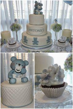 Bolo Urso - Chá de Bebê Urso Azul #LumaCosta #batizado #urso #blue #bear #BabyShower #cake