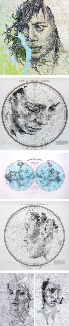 Map and Celestial Star Chart Portraits by Ed Fairburn