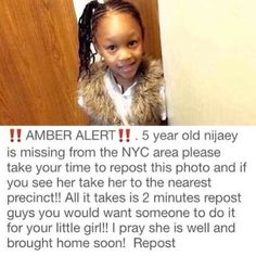 Prayers for her to be safely found in Jesus name... This isn't funny but it needs to be spread so...