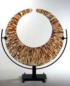 Amber Strata Crescent by George Scott: Art Glass Sculpture available at www.artfulhome.com