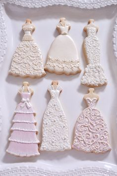 10 Bridal Gown Cookies-Lace Wedding Dress by MarinoldCakes