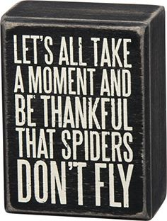 """Primitives By Kathy Box Sign """"Let's All Take a Moment and Be Thankful That Spiders Don't Fly"""" Primitives By Kathy http://www.amazon.com/dp/B00SW0SURU/ref=cm_sw_r_pi_dp_q9aNwb0MCW4WP"""