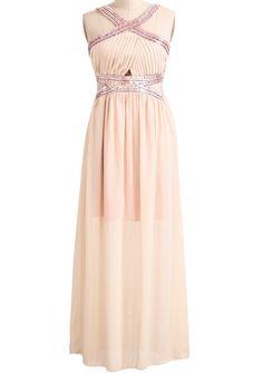 Apricot Criss Cross Bead Pleated Maxi Dress