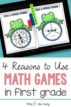 Looking for a way to solidify your first grade students' mathemtaical understanding without using boring worksheets? Let's talk math games in first grade! 1st Grade Math Games, Teaching First Grade, First Grade Classroom, First Grade Math, Math Lesson Plans, Math Lessons, Math Fact Fluency, Fluency Games, Math Fact Practice