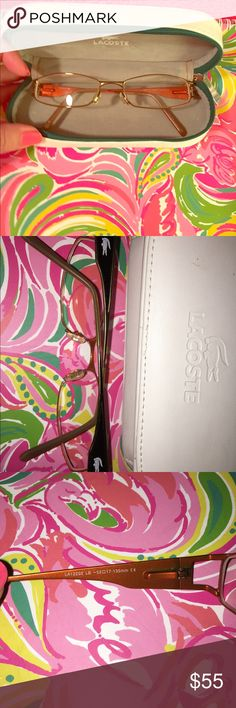 Lacoste prescription glasses and case Excellent used condition only wore a few times has minor near sighted prescription lenses but you can have your own put in! The case shows more wear than the glasses! Lacoste Accessories Glasses
