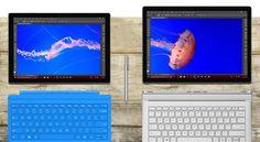 12型Windowsタブレット「Surface Pro 4」(写真=左)と13.5型2in1ノート「Surface Book」(写真=右)。単なる画面サイズが違うバリエーションモデルではなく、設計が全く違っている