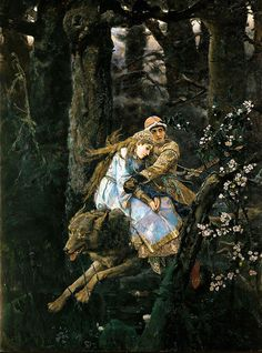 Ivan Zarevitch on the grey Wolf (1889) by Viktor M. Vasnetsov (1848–1926).  Tretyakov Gallery, Moscow. Wikimedia.