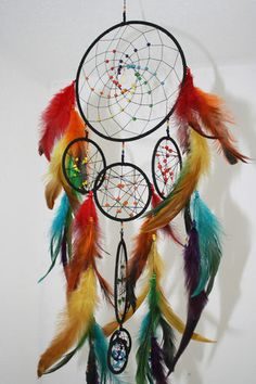 Handmade Rainbow Quartz Crystal Rave Dreamcatcher Atrapasueños Gay Pride Peace