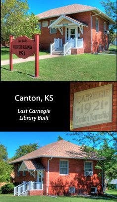 The Canton library holds the distinction of being the last U.S. Carnegie Library built. Additionally, it must be one of the smallest. It is still an active library and the community takes great pride in it.  FACTS: Canton, Kansas (McPherson County; Built 1921: Funded $6,000, Latitude: 38.388056; Longitude: -97.426389 Latitude 38, Carnegie Library, State Of Kansas, Historical Pictures, Libraries, Pride, Public, Facts, Community