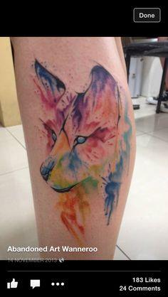 Dog / wolf water colour tattoo  Abandoned Art in Wanneroo Western Australia