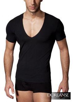 DA2820 - Deep Neck Men's Sexy T-Shirt Tiefer Ausschnitt Slim Fit - Viel Mehr unter doreanse-shop.com
