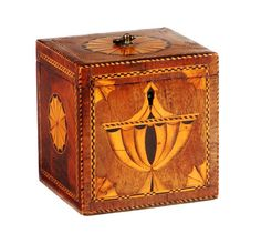 A George III inlaid mahogany square shaped tea caddy With urn motif to front and chequer banding, 11cm // SOLD £562 - 16th Nov. 2011 // - Maria Elena Garcia - ► www.pinterest.com... ◀︎