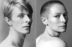 fotografias David Bowie and Tilda Swinton Tilda Swinton, David Bowie, Tv Movie, Patti Hansen, Frederique, Portraits, Arte Pop, Androgynous, Beautiful People