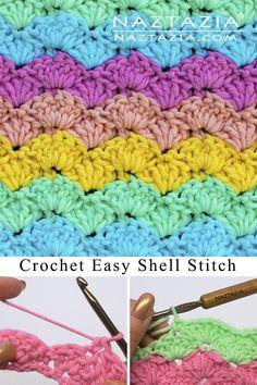 Crochet Easy Shell Stitch - Good for Blankets Scarves Shawls and Blankets Crochet Shell Blanket, Crochet Shell Pattern, Crochet Shell Stitch, Afghan Crochet Patterns, Crochet Blankets, Crochet Afgans, Easy Crochet Stitches, Crochet Stitches For Beginners, Crochet Basics
