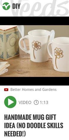 Handmade Mug Gift Idea (No Doodle Skills Needed!) | http://veeds.com/i/8ujets6b7rgJ9lzq/diy/