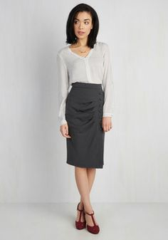 A Trip Into Town Skirt in Charcoal. When youve got to-dos downtown, get gussied up for the occasion by donning this charcoal-grey skirt! #grey #modcloth