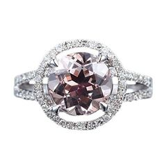 Round Morganite Engagement Ring Pave Diamond Wedding 14K White Gold 8mm