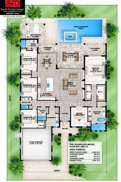 Seabrook-This tropical great room houseplan features 4 bedrooms, 4 baths and a 2 car garage. Visit our website for details!
