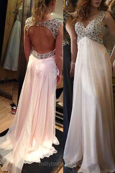Empire Prom Dresses, White Prom Dresses, V-neck Prom Dresses, Chiffon with Beading Open Back Prom Dresses