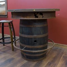 Whiskey Barrel Pub Table with Stool