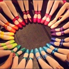 Rainbow pointe shoes- always wished I bought coloured pointe shoes instead of plain peach!