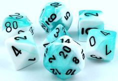 RPG Dice Set (Gemini Aqua and White) role playing game dice + bag