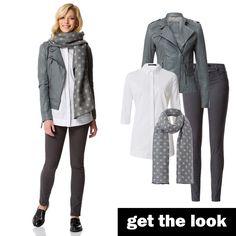 Lederjacke, Longstyle-Bluse, Slim Fit Jeans und Schal von zero! #getthelook #zerofashion #outfit #ootd