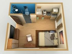 61 trendy bath room ideas small apartment tiny house 61 trendy bath r Studio Apartment Floor Plans, One Room Apartment, Studio Apartment Layout, Micro Apartment, Small Apartment Plans, Small Apartment Layout, Basement Apartment, Tiny House Loft, Tiny House Design