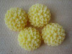 4PCS  Yellow  Mum Flower Cabochons  15MM  Jewelry by ZARDENIA, $2.00