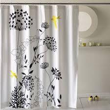Beau Grey Black White Yellow Shower Curtain