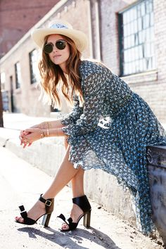 Flirty + pretty dress with sandals, a straw hat, and aviators.