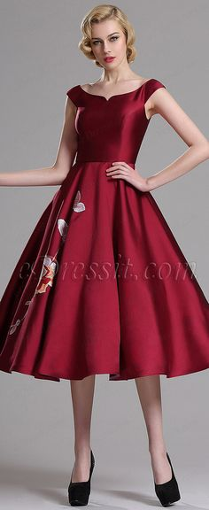 Romantic red tea length prom dress with floral embroidery