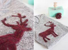 DIY Wool Felted Reindeer Sweater