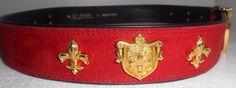 ESCADA Vintage Belt Lipstick Red Suede Leather Fleur De Lys Charms SOLD! #hapachico vintage Escada