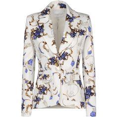 ALTUZARRA Blazer (38.235 RUB) ❤ liked on Polyvore featuring outerwear, jackets, blazers, coats, coats & jackets, white, 1 button blazer, white cotton blazer, long sleeve jacket and colorful blazers