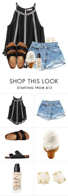 """""""hey poly :)"""" by madiweeksss ❤ liked on Polyvore featuring H&M, Birkenstock, NARS Cosmetics and Kendra Scott"""