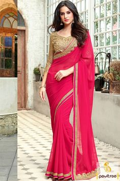 Fabulous dark pink beige color georgette designer saree looks really awesome and wonderful. Shop this new style designer collection #saree, #designersaree more: http://www.pavitraa.in/store/designer-sarees/