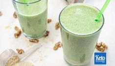 Recently we bought a Keto Avocado Smoothie from a popular health food shop near us. The smoothie wasn't Keto at all. Peanutbutter Smoothie Recipes, Protein Smoothie Recipes, Peanut Butter Smoothie, Avocado Smoothie, Spinach Smoothies, Vegan Smoothies, Keto Breakfast Muffins, Keto Breakfast Smoothie, Milk Shakes