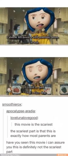 -- I know Tim Burton didn't actually produce Coraline but I don't really have a board to put this in. Dc Memes, Funny Memes, Funny Cartoons, La Route D'eldorado, Stupid Funny, The Funny, Lol, Disney Memes, Disney And Dreamworks